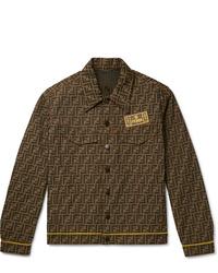 braune bedruckte Jeansjacke von Fendi