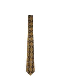 braune bedruckte Krawatte von Gucci