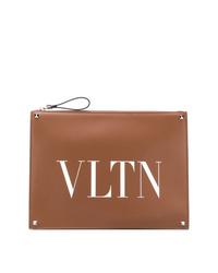 braune bedruckte Leder Clutch Handtasche von Valentino