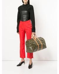 braune bedruckte Leder Reisetasche von Louis Vuitton Vintage