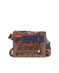 braune bedruckte Leder Umhängetasche von Fendi