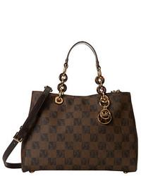 braune bedruckte Satchel-Tasche aus Leder