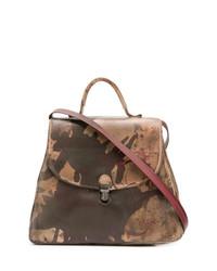 braune bedruckte Satchel-Tasche aus Leder von Cherevichkiotvichki
