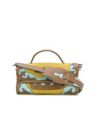 braune bedruckte Satchel-Tasche aus Leder von Zanellato