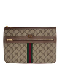 braune bedruckte Segeltuch Clutch von Gucci