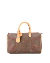 braune bedruckte Segeltuch Reisetasche von Etro