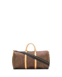 braune bedruckte Segeltuch Sporttasche von Etro