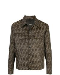 braune bedruckte Shirtjacke von Fendi