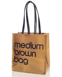 braune bedruckte Shopper Tasche aus Leder