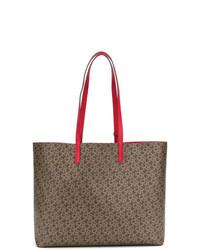 braune bedruckte Shopper Tasche aus Leder von DKNY