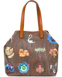braune bedruckte Shopper Tasche aus Leder von Etro