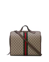braune bedruckte Shopper Tasche aus Segeltuch von Gucci