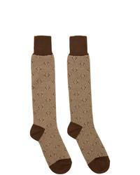 braune bedruckte Socken von Gucci