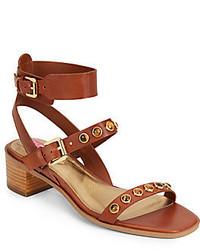 braune beschlagene Leder Sandaletten