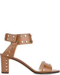 braune beschlagene Leder Sandaletten von Jimmy Choo