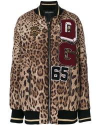 braune Bomberjacke mit Leopardenmuster von Dolce & Gabbana