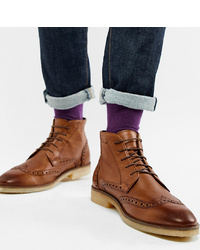 braune Brogue Stiefel aus Leder von ASOS DESIGN
