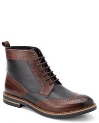 braune Brogue Stiefel aus Leder von Base London