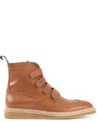braune Brogue Stiefel aus Leder