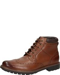 braune Brogue Stiefel aus Leder von Clarks