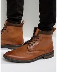 Braune Brogue Stiefel aus Leder von Dune