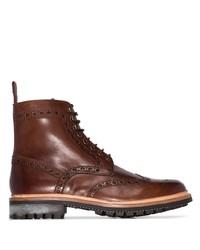 braune Brogue Stiefel aus Leder von Grenson
