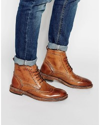 braune Brogue Stiefel aus Leder von Kg Kurt Geiger
