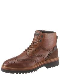 braune Brogue Stiefel aus Leder von La Martina