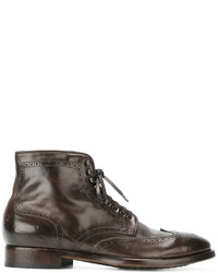 braune Brogue Stiefel aus Leder von Officine Creative