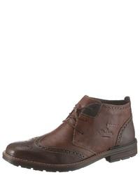 braune Brogue Stiefel aus Leder von Rieker