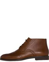 braune Brogue Stiefel aus Leder von Tommy Hilfiger