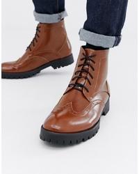 braune Brogue Stiefel aus Leder von Truffle Collection
