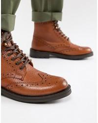 braune Brogue Stiefel aus Leder von WALK LONDON