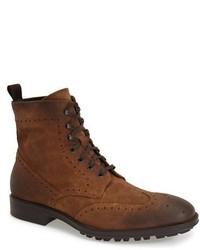 braune Brogue Stiefel aus Wildleder