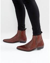 braune Chelsea Boots aus Leder mit Schlangenmuster