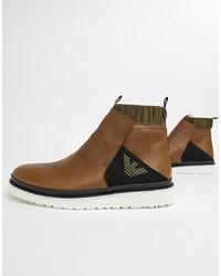 braune Chelsea Boots aus Leder von Emporio Armani