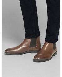 braune Chelsea Boots aus Leder von Jack & Jones