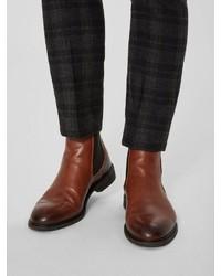 braune Chelsea Boots aus Leder von Selected Homme
