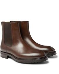 braune Chelsea Boots aus Leder von Tom Ford