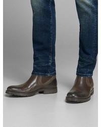 braune Chelsea-Stiefel aus Leder von Jack & Jones