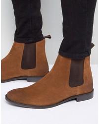 Braune Chelsea-Stiefel aus Wildleder von Asos