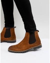 braune Chelsea-Stiefel aus Wildleder von Base London