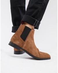 braune Chelsea-Stiefel aus Wildleder von Hugo