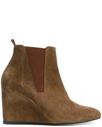 braune Chelsea-Stiefel aus Wildleder von Lanvin