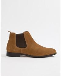 braune Chelsea-Stiefel aus Wildleder von Pier One