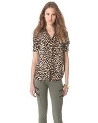 braune Chiffonbluse mit knöpfen mit Leopardenmuster