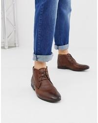 braune Chukka-Stiefel aus Leder von ASOS DESIGN