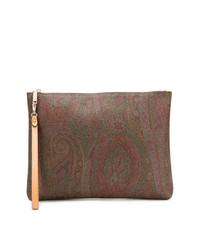 braune Clutch Handtasche mit Paisley-Muster von Etro