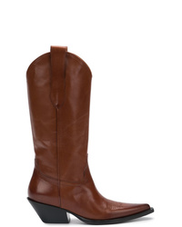braune Cowboystiefel aus Leder von Maison Margiela