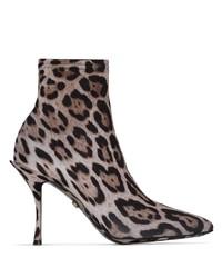 braune elastische Stiefeletten mit Leopardenmuster von Dolce & Gabbana